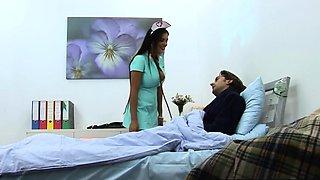 Busty Black Nurse Jasmine Rides Patient Hard In Bed