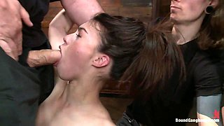 Gorgeous French Girl Taken Down in Rough Gangbang