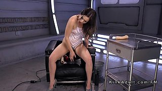 Hairy pussy babe gets machine fucked
