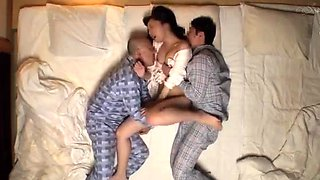 Beautiful Asian stepsister gets double drilled on the bed