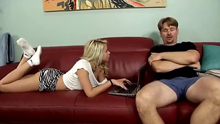 Blonde Daughter Comforts Her Dad