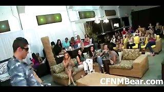 Amateur CFNM party girls jizzed by stripper