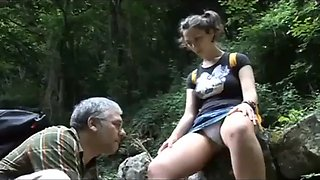Daughter gets fucked by daddy in the woods