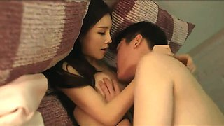 Gorgeous Japanese babe with perfect tits enjoys a hard dick