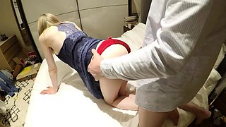 Wild amateur blonde in red panties gets pounded doggystyle