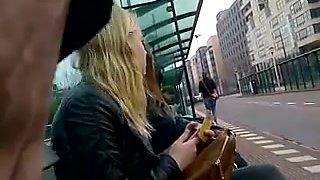 Dick flashing blond at bus stop