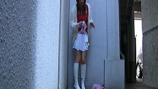 Outdoors video of naughty Emi Harukaze flashing pussy and playing