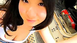 Bodacious Japanese beauty flashes her perfect curves outside