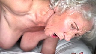 Grey-haired cunt of fat granny gets pounded by young stud
