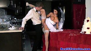 Cougar bride gets sprayed with cum