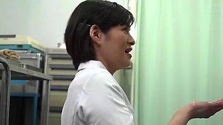 Cute japanese nurse takes big dick down throat