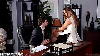 Hot accountant cums all over hot busty cheating wife