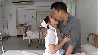 Quickie fucking on the hospital bed with horny nurse Sakamoto Sumire