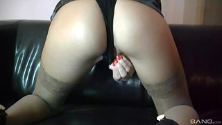 Solo beauty uses huge vibrator on pussy and over the clit